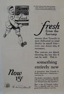 Tuxedo Pipe Tobacco Ad 1924