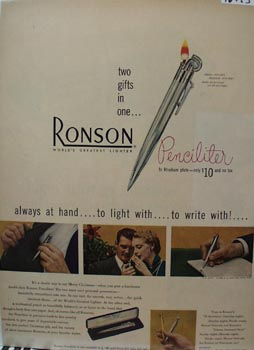 Ronson Two Gifts in One Ad 1949