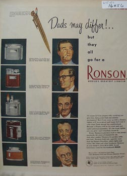 Ronson Dads May Differ Ad 1950