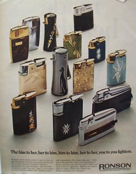 Ronson You to You Lighters Ad Late 1960's
