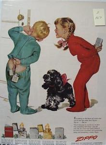 Zippo Lighter Children In Pajamas Ad 1952