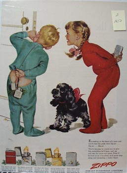 Zippo Lighter Children In Pajamas Ad 1952