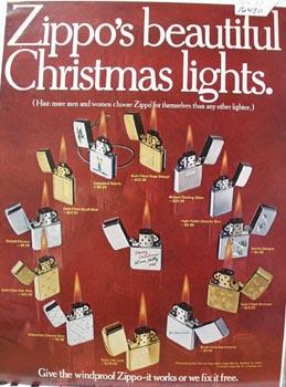 Zippo Lighter Christmas Ad Late 1960's