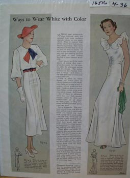 Butterick Dress Patterns Wear White Ad 1936