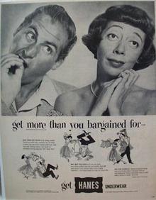 Hanes Underwear Caesar/Coca no Hats Ad 1952