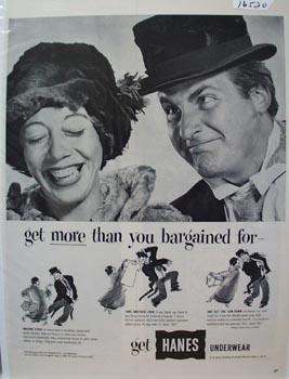 Hanes Underwear Coca/Caesar With Hats Ad 1952