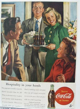 Coca-Cola Hospitality in Your Hands Ad 1947