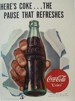 Coca-ColaHand With Bottle Ad 1947