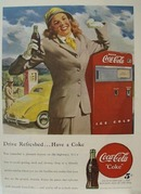 Coca-Cola Woman With Yellow Car Ad 1948