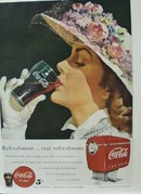 Coca-Cola Lady With Flowers on Hat Ad 1949