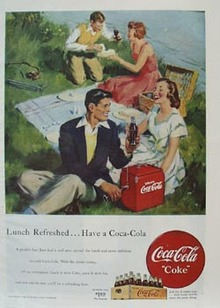 Coca-Cola Couples on Picnic Ad 1949