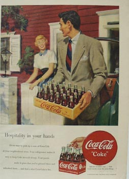 Coca-Cola Man With Case of Coke Ad 1949