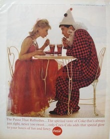 Coca-Cola & Clown At Table Ad 1963