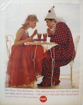 Coca-Cola & Clown At Table Ad 1963