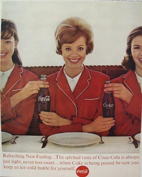 Coca-Cola & Three Ladies in Red Suits Ad 1963