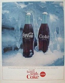 Coca Cola & Two Frosted Bottles Ad 1964