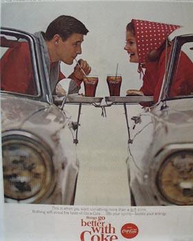Coca-Cola Couple At Drive-In Ad 1965.