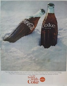 coca-Cola Two Bottles in Snow Ad 1965