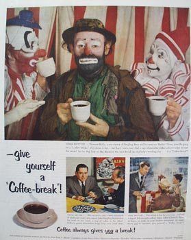 Pay American Coffee Bureau & Emmett Kelly Ad 1953