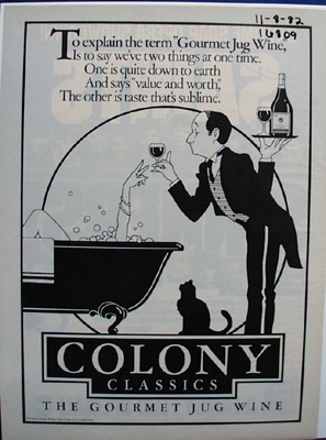 Gourmet Jug Wine Colony Classic Ad 1982