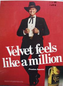 Black Velvet Whiskey & J R Ewing Ad 1988