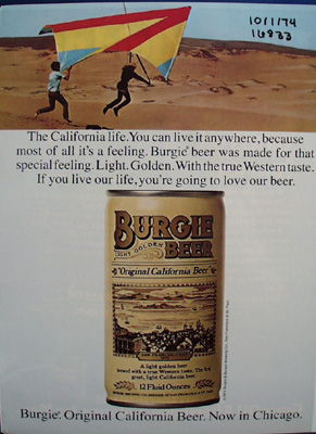 Burgie Beer California Life Ad 1974