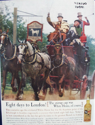 White Horse scotch whisky Eight days to London Ad.