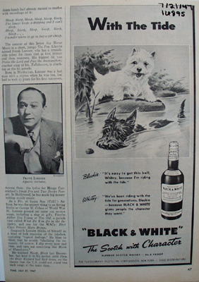 Black & White Scotch whisky With The Tide ad., 7/21/47