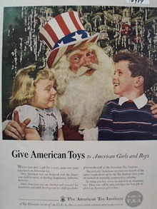 Uncle Sam Give American Toys Ad 1949