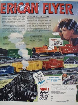 American Flyer Train Hello Boys & Dads Ad 1949