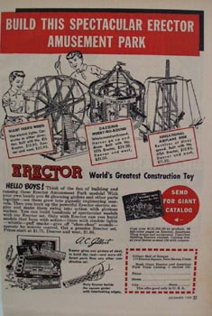 Erector Construction Toy Amusement Park Ad 1950