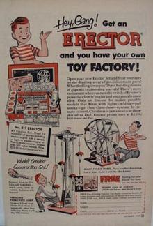 Erector Construction Toy Hello Gang Ad 1952