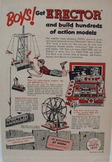 Erector Construction Toy Action Models Ad 1950's