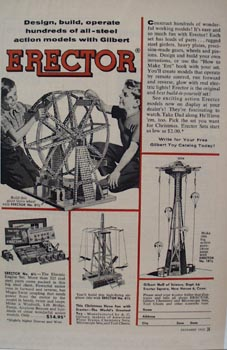 Erector Constar. Set Two Boys Ferris Wheel Ad 1955
