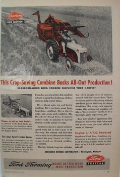 Ford Tractor Crop-Saving Combine Ad 1951
