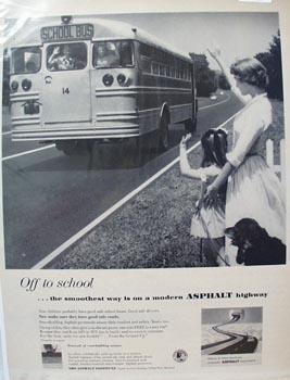 Asphalt Highway & School Bus Ad 1957