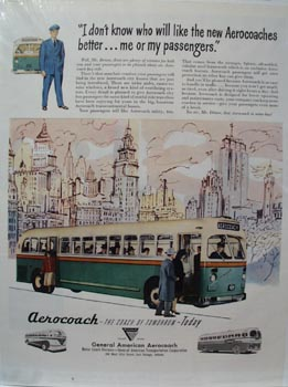 Aerocoach Bus Me or Passengers Ad 1948