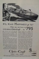 Chris-Craft Boats Watch Happiness Ad 1932