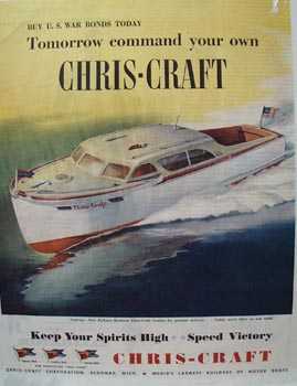 Chris-Craft DeLuxe Enclosed Boat Ad 1944