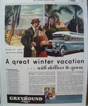 Greyhound Great Winter Vacation Ad 1933