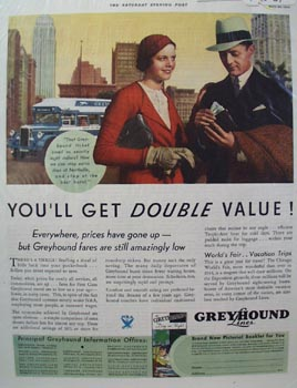 Greyhound Double Value Ad 1934