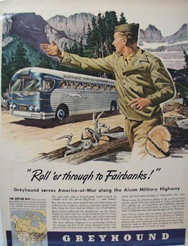 Greyhound Roll to Fairbanks Ad 1943