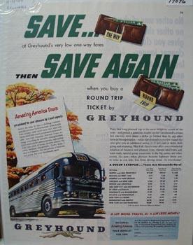 Greyhound Save & Save Again Ad 1950