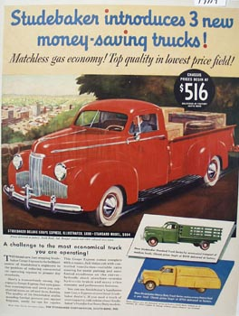 Studebaker Truck Matchless Gas Economy Ad 1941