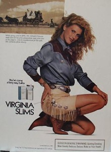 Virginia Slims Lady in Western Gear Ad 1989