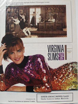 Virginia Slims Lady on Elbow Ad 1991