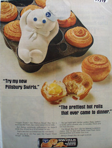 Pillsbury Dough Boy  Hot Rolls Ad 1966