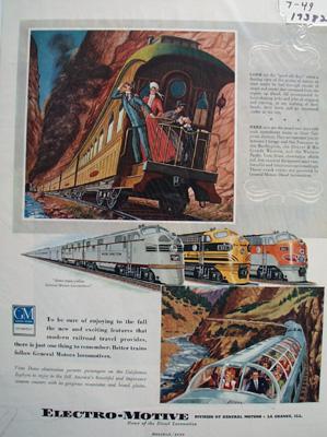Electro-Motive Calif. Zephers Ad 1949