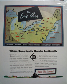 Erie RR Opportunity Knocks Ad 1940's