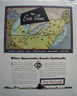 Erie RR Opportunity Knocks Ad 1940's